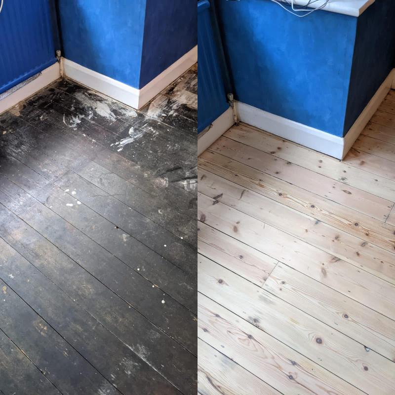 Image 14 - Bitumen removed from a pine floor in Prestwood. Hard work but using the right abrasives plays a huge part