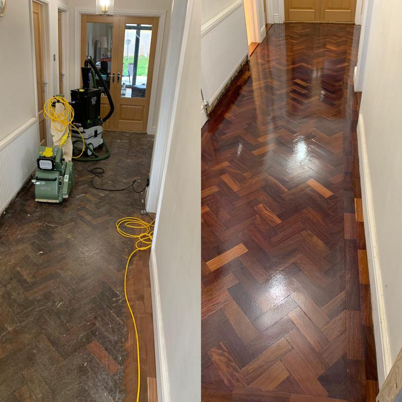 Image 13 - Herringbone wood floor in a hallway. Sanded back, coated in a satin lacquer. What a beauty!