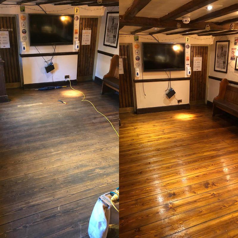 Image 11 - Royal Oak in Aston Clinton. Floor boards sanded back, stained in dark oak and then coated in a satin 2 part lacquer system for commercial use.