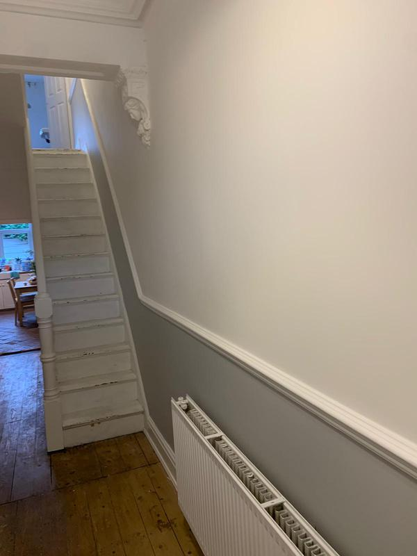 Image 1 - Large Hall Stairs Landing- During Matt White over Goose Down Grey with Satin Woodwork.