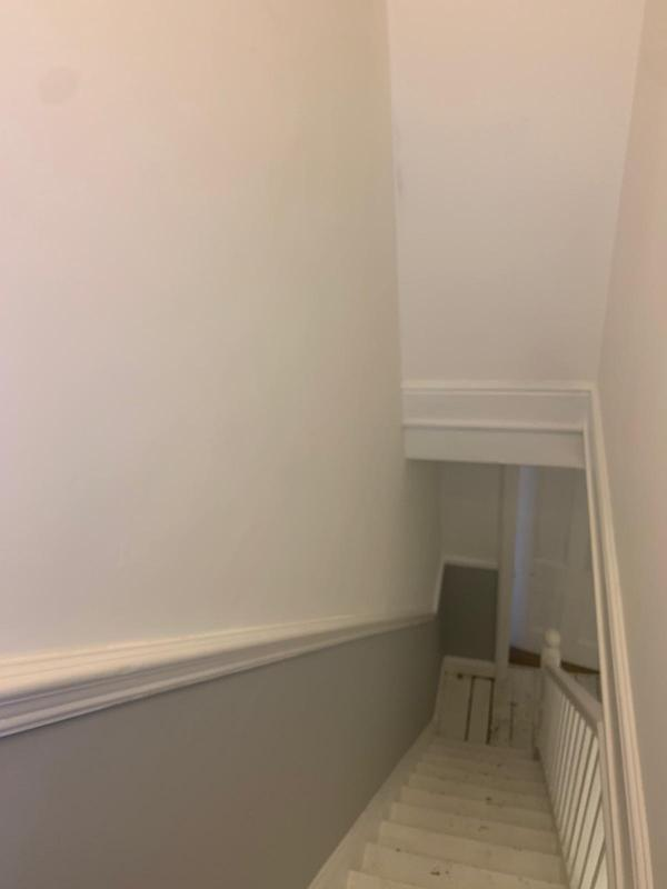 Image 3 - Large Hall Stairs Landing- During Matt White over Goose Down Grey with Satin Woodwork.