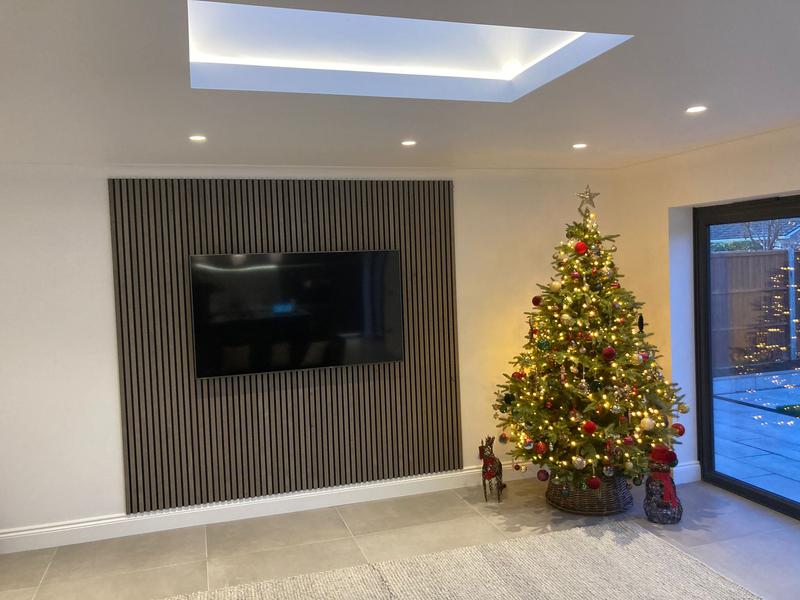 Image 1 - Kitchen Extension Completed with acoustic wall panels behind the tv area to make a feature wall.