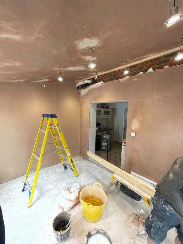 Image 95 - Whitefield building work - During - Walls all skimmed