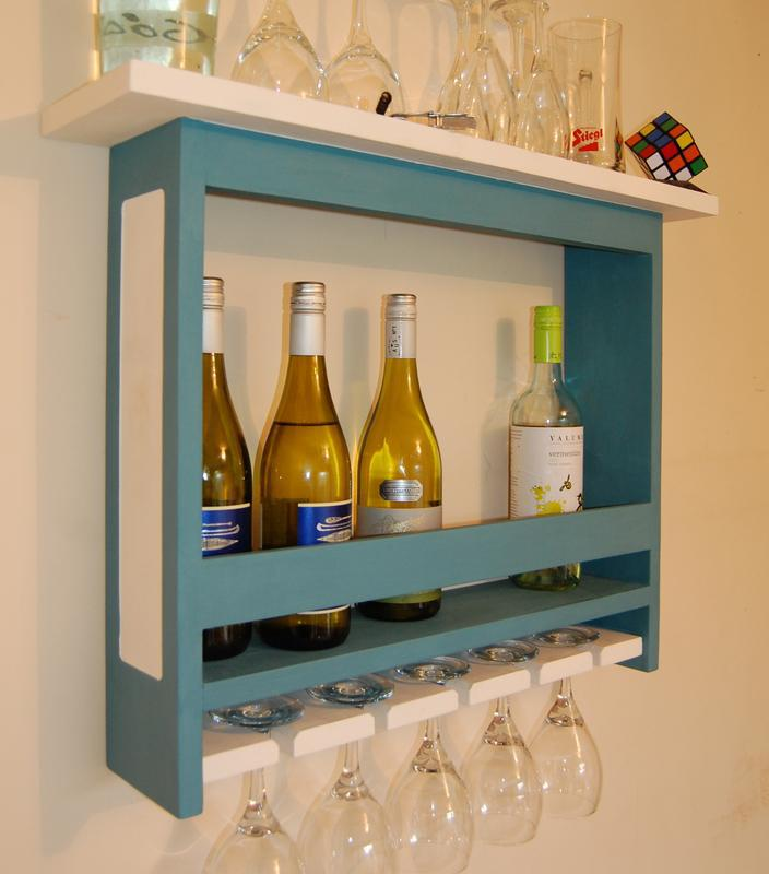 Image 15 - Painted pine unit. Wine bottle and glass holder. Finished with belgrave blue & chalky white to deliver an authentic look.