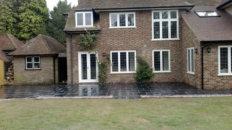 Image 25 - Patio in Blue Black Slate in Harpenden