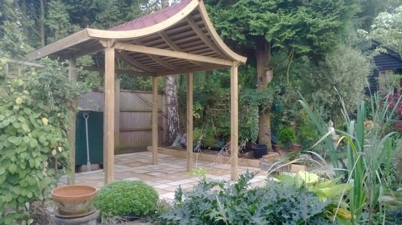 Image 32 - Oriental Pergola Feature with Indian Sandstone base in Caddington