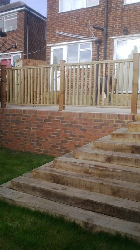 Image 33 - Terraced Patio in Bradstone Textured Paving , Sleeper Step Feature in Luton