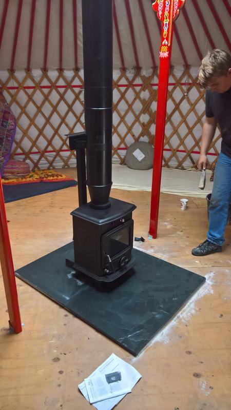 Image 27 - baby gabriel stove into yurt with twin wall flue system