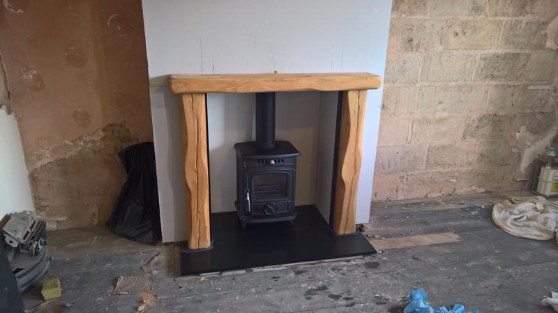 Image 33 - 3/8/17 baby gabriel and waney edge oak surround riven slate hearth in moseley birmingham