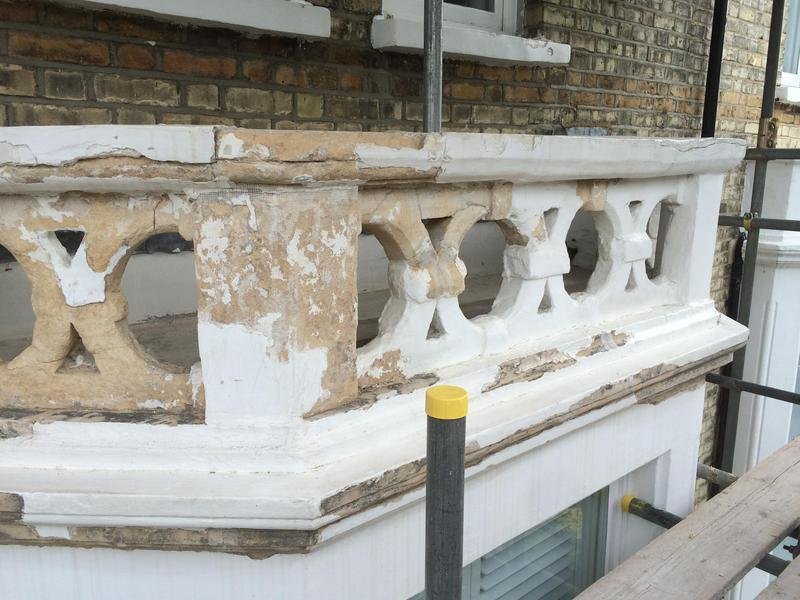 Image 25 - Flaking mortar and paint scrapped off, strengthen cracks with fiber tape to stop repairs from cracking