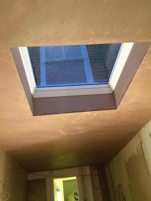 Image 51 - Roof lantern Installation of a fixed flat glass roof window during kitchen renovation and fully plastered