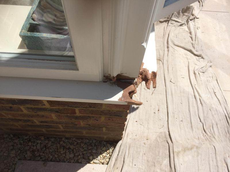 Image 55 - Rotten sections chiseled out, timber will be primed with Dry Fix4 stabiliser