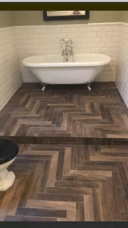 Image 17 - Full bathroom re-fit out, with Victorian style, white brick tiles, and herringbone wood block tiled floor.